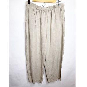 Flax | Beige Linen Pants Size Large Lagenlook